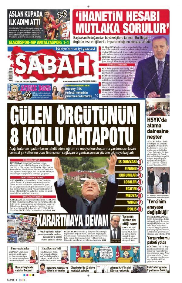 16.01.2014 - Sabah Gazetesi'nin manşeti