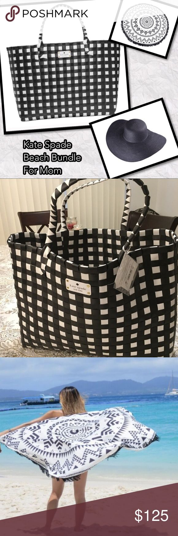 """MOM Kate Spade Beach Bundle Black and white 14x16x6 Kate Spade beach nylon straw beach tote. Brand New with Tags never used. Black beach floppy hat, and """"60 inch round beach throw or wrap. Comes in gift bag with a few extras for mom and a handmade card for you for her! kate spade Bags"""