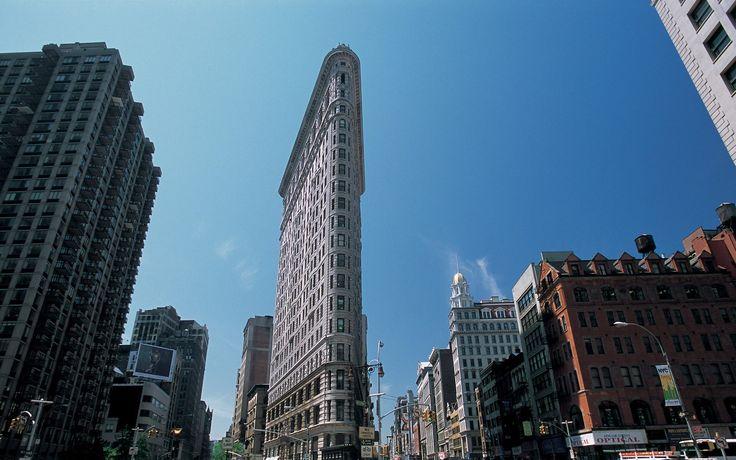 Нью-йорк, небоскрёбы, сша, америка, флэтайрон, билдинг, манхэттен, улица, утюг, небо обои, картинки, фото