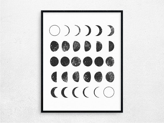 Lunar Phases Digital Poster Space Printable by PaperIslandDesign