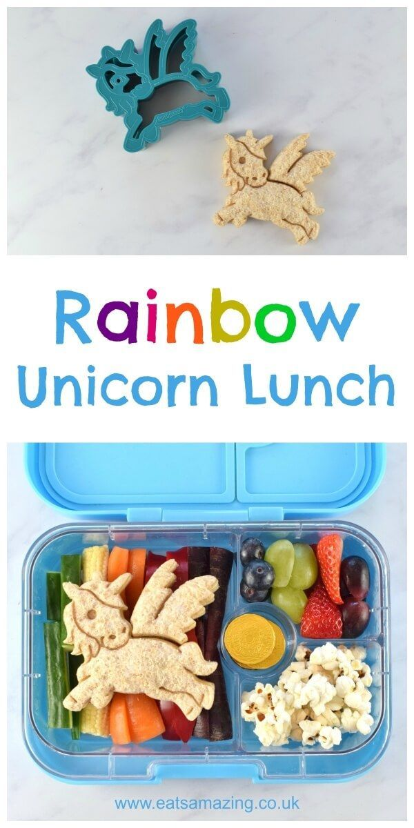 How to make an easy rainbow unicorn themed bento lunch for kids - with full instructions and video tutorial from Eats Amazing UK