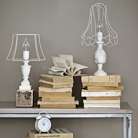 Krylon painted wire lampshade ghost shade.  I would want to use the vintage-look lightbulbs : )