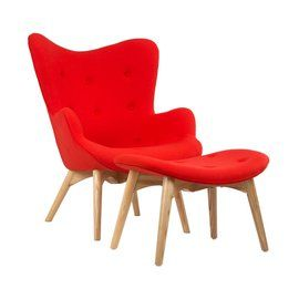Prop your feet up and sit back for a most relaxing experience. Inspired by mid-century modern Dutch design, the chair and ottoman provide modern comfort for your home. Bright reddish orange upholstery complements a sturdy, stylish frame.
