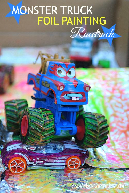 Monster Truck Foil Painting Racetrack by Crayon Box Chronicles