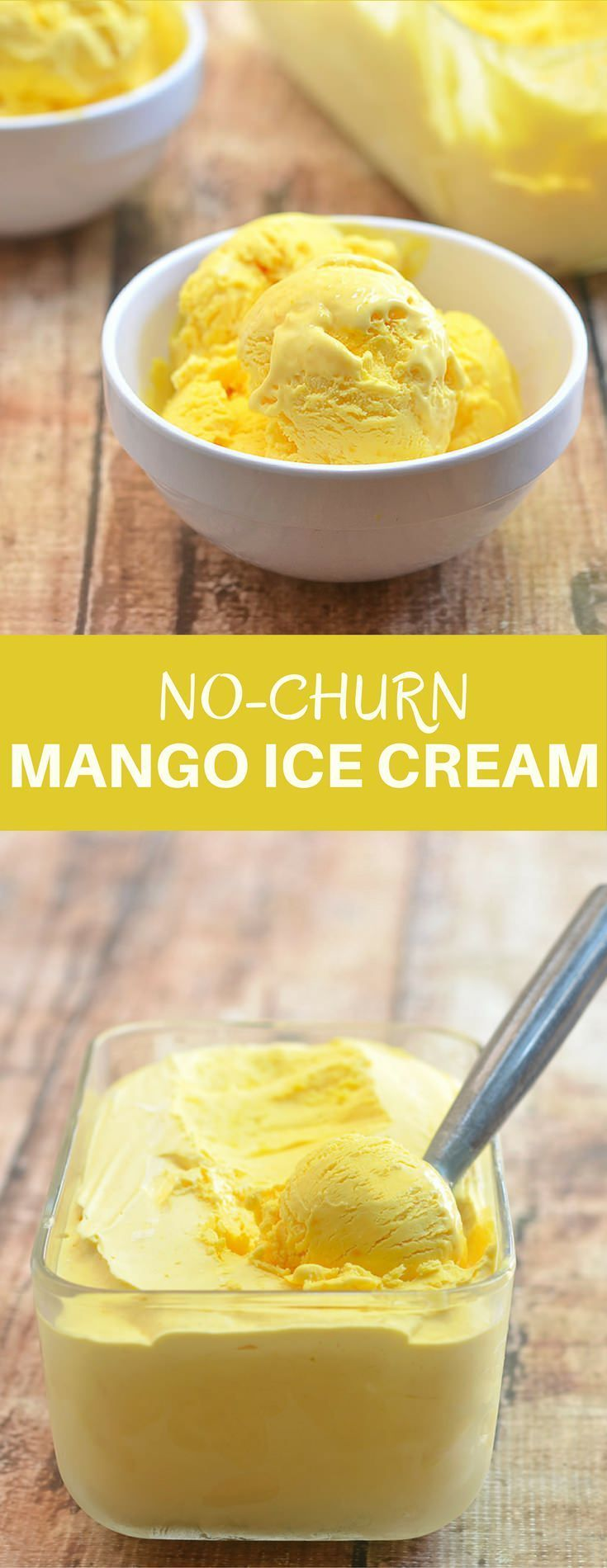 This mango ice cream is all about the fresh flavors of summer! Rich, silky and with intense mango flavor, it will very well be your next sweet addiction. No churn and ice cream maker needed, and only three ingredients!