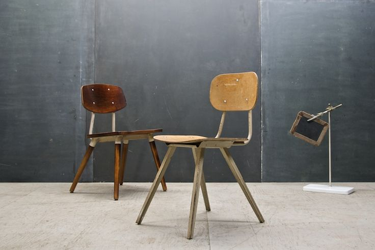 French Vintage Industrial School Chair : 20th Century Vintage Industrial Modern50 Style