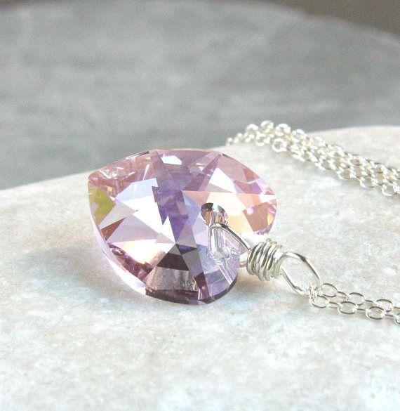 Swarovski  Pink Heart Necklace  Sterling Silver  Sparkly
