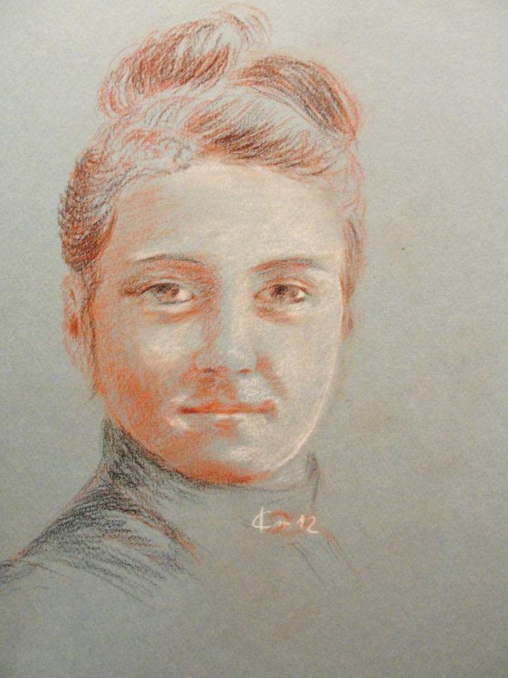 trois crayons   Ste Thérèse de Lisieux, portrait dessin drawing aux trois crayons