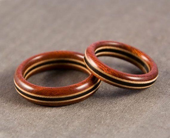 Wood Ring Set  Bloodwood Maple Ebony  Wedding Ring by bcrdesigns, $98.00