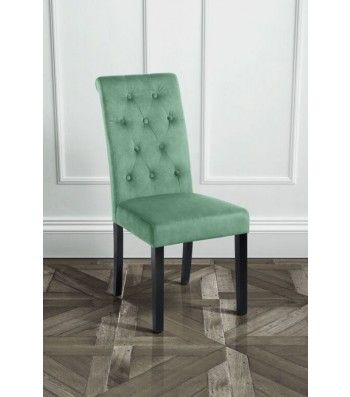 Genoa Jade Upholstered Scroll Back Dining Chair with Dark Legs