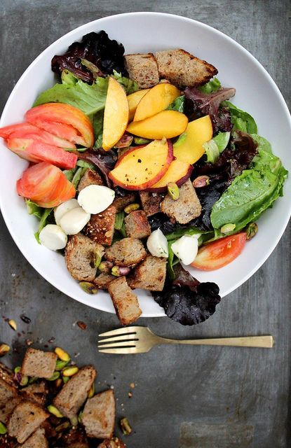 Tomato and Peach Salad with Buttered Bread and Pistachios
