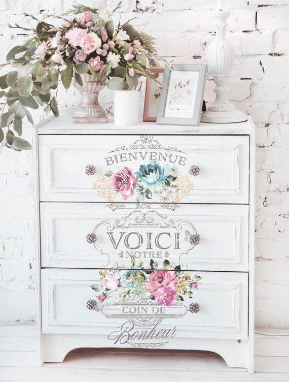 French Flower Vase Stencil DIY Vintage Furniture Rustic sign template wall art