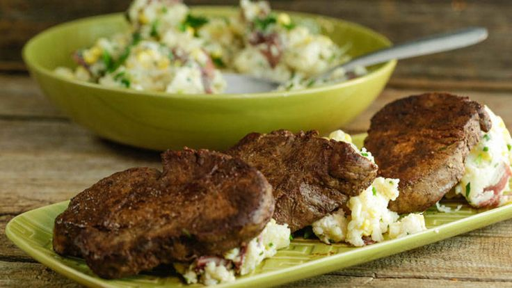 Ayesha Curry's Easy Pan Steaks with Loaded Mashed Potatoes