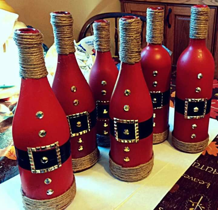 cute idea for wine bottles winter pinte - Christmas Wine Bottle Decorations