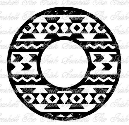 Tribal Aztec Monogram Circle Frame For Silhouette Cameo Or