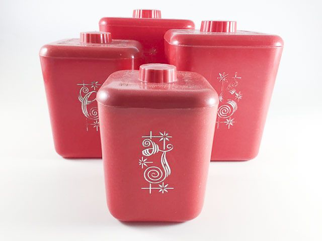 Vintage Red Kitchen Canisters Set Of 4 Flour Sugar Coffee Tea 1950s Mid  Century