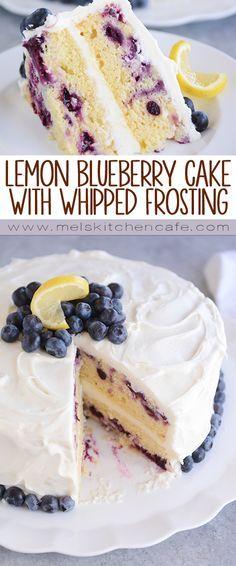 Lemon Blueberry Cake with Whipped Lemon Cream Frosting