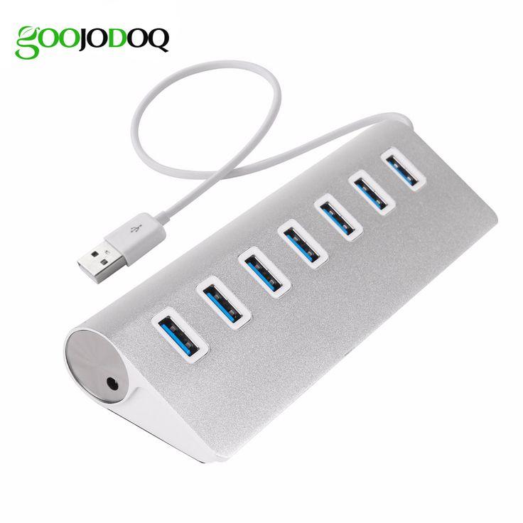 7 Ports USB 3.0 HUB High Speed 3.0 USB Splitter Adapter Aluminum Hub Charging Sync Data for PC Macbook Laptop Silver E29