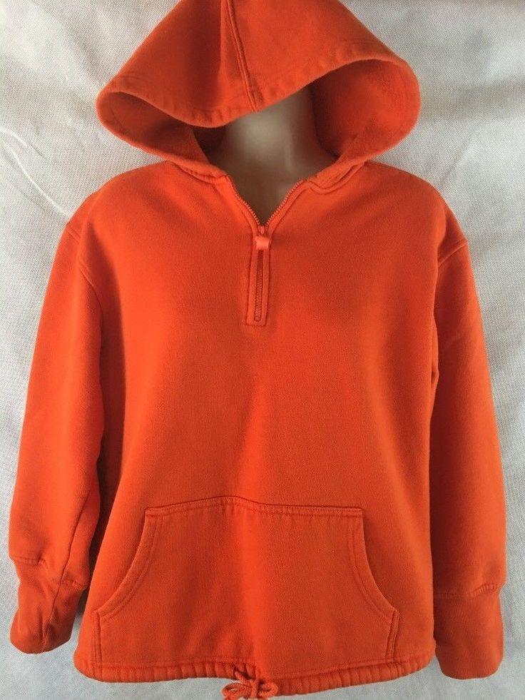 Womens Orange Pullover 1/4 Zip Hooded Sweatshirt Lady Foot Locker Size Small #LadyFootlocker #Hoodie