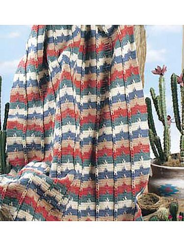 Southwestern Cable Afghan By Karen Wolfram - Free Crochet Pattern With Website Registration  - (free-crochet)