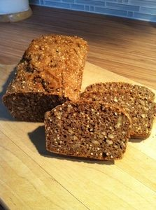 Spelt and Buckwheat Bread 400 gr. spelt 100 gr. buckwheat 500 gr. water (lukewarm) 3 table spoon of apple cider vinegar 2 tsp salt 4 tsp dry yeast ¾ cup of each flax seed, sesame seeds, sunflower seeds, pumpkin seeds 1- 2 handful of walnuts or other nuts (optio nal)