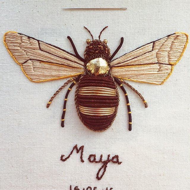 Melliferous (adj.) yielding or producing honey.  A custom order ready for my client. Embroidered using leather, Goldwork and silk threads. I really hope she likes it - I always get nervous when sending my work off. A good sob beforehand helps 🐝🐝🐝 #TheOldeSewingRoom