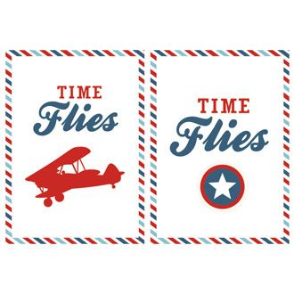 Airplane Birthday Party Printables - Time Flies by I Heart to Party