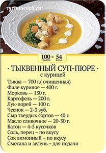 Карточка рецепта Тыквенный суп-пюре с курицей
