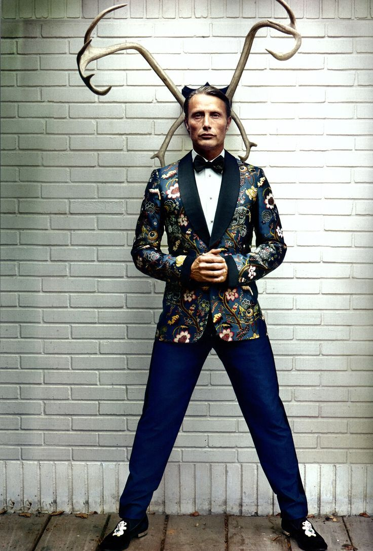 Mads Mikkelsen in Officiel Hommes Magazine Black Tie & Floral Tuxedo Jacket