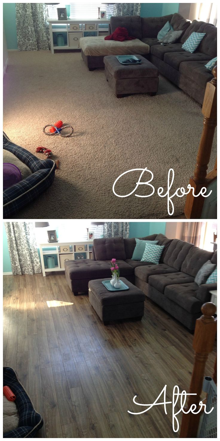 laminate hard wood how-to. DIY. hard wood flooring. Drift wood oak. install yourself, before and after. Popular with the Poplins