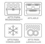 *Apto para microondas *Apilable *Apto para congelador *Apto para lavavajillas