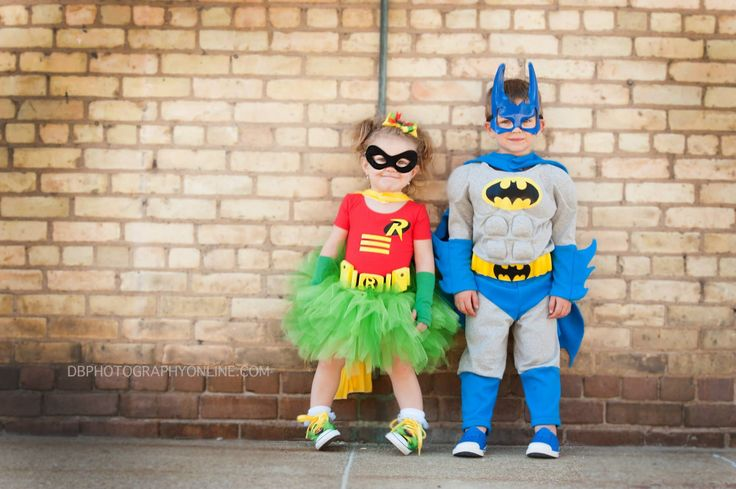 Sibling toddler halloween costume idea Batman and Tutu Robin