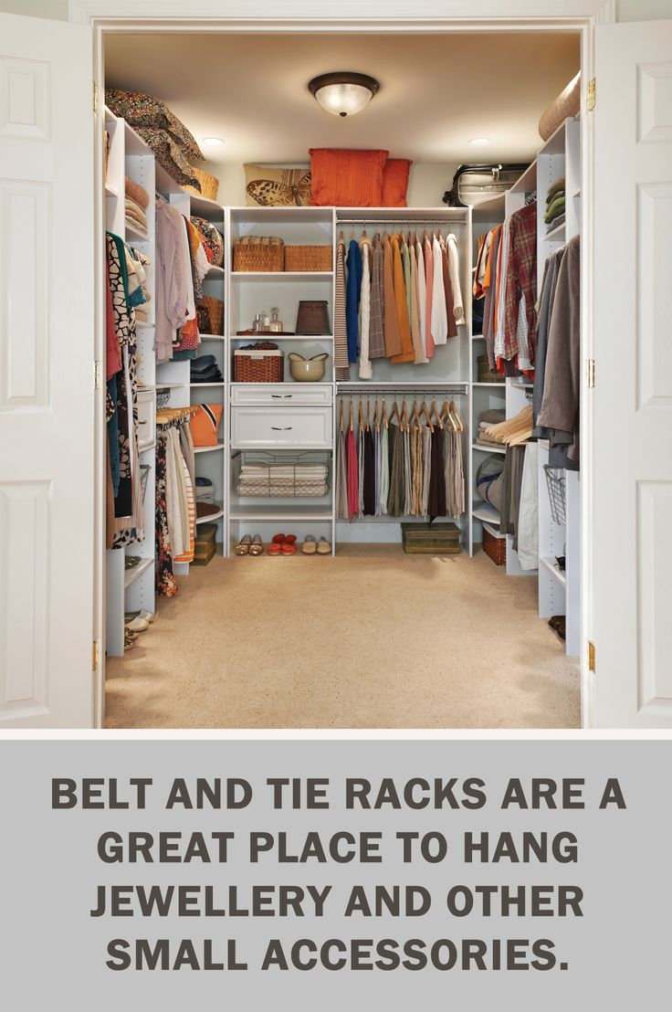 #LetsGetOrganized with @closetmaid: Belt and tie racks are a great place to hang jewellery and other small accessories. #Storage #Organization #Closet #StorageTips