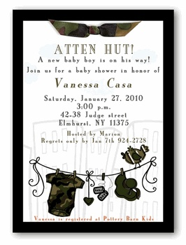 Military Baby Shower Invitation - Boy