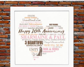 Are you looking for the perfect Wedding Anniversary gift for a fabulous couple? Then choose this lovely FRAMED personalized wedding anniversary heart design which would make a great present for such a special occasion. Show how much you care by choosing this bespoke design and have it crafted with some of the most beautiful words and meanings. ♥♥ Advantages of choosing a FRAMED Personalised Print Design ♥♥ ► We do all the work for you, so that you dont have to ► No need to worry about…