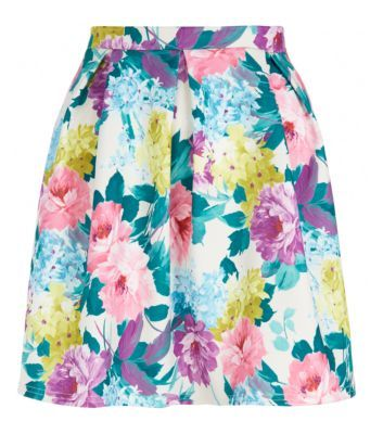 White Floral Skater Skirt