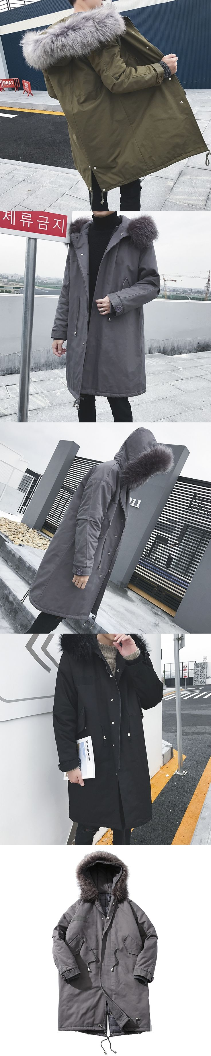 2017 New Winter Men's Fashion Fur Cap Long Windbreaker Thicken Cotton-padded Clothes Loose In Warm Snow Jackets Coats M-3XL