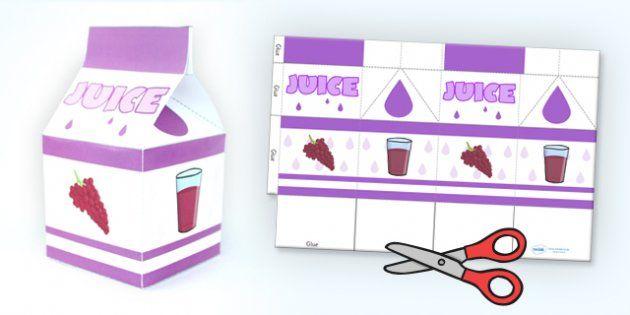 Grape Juice Carton Net Template - paper craft, props, nets