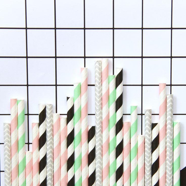 Memphis Pastel Paper Straws