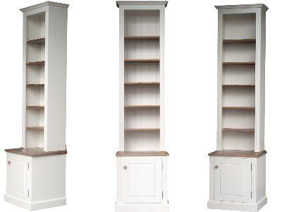 100% Solid Wood Bookcase, 8ft Tall White Painted U0026 Waxed Alcove, Adjustable  Display Shelving Unit, Bookshelves With Cupboard. No Flat Packs, No Assu2026