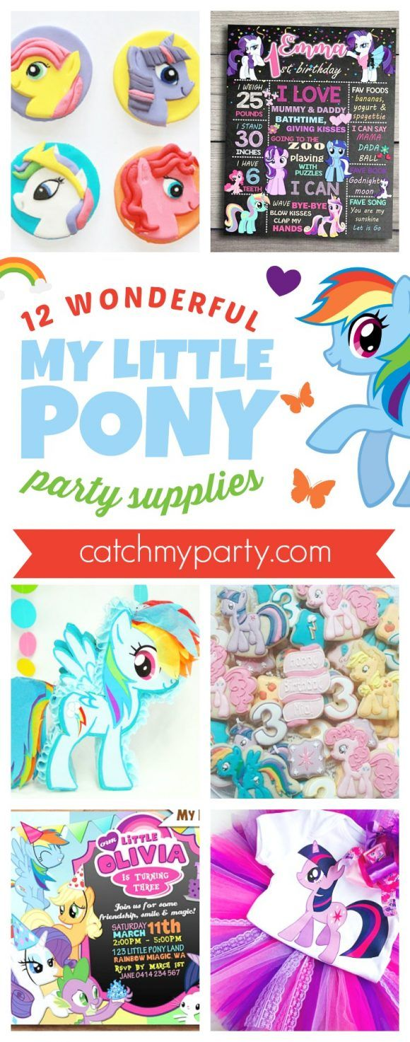 12 Wonderful My Little Pony Birthday Party Supplies | CatchMyParty.com #mylittlepony #girlbirthdayparty