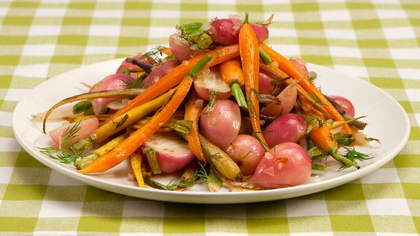 Roasted Carrots and Radishes With Dill Butter