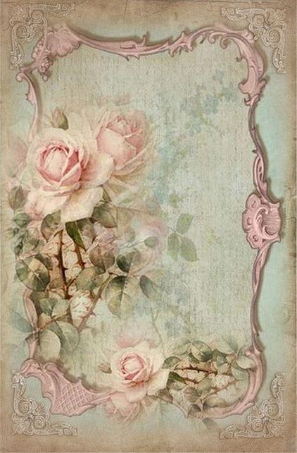 Light pink roses on scroll frame..