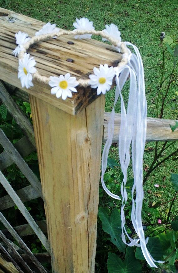 Daisy Hair Wreath Flower Girl Hair wreath by SilkFlowersByJean, $15.00