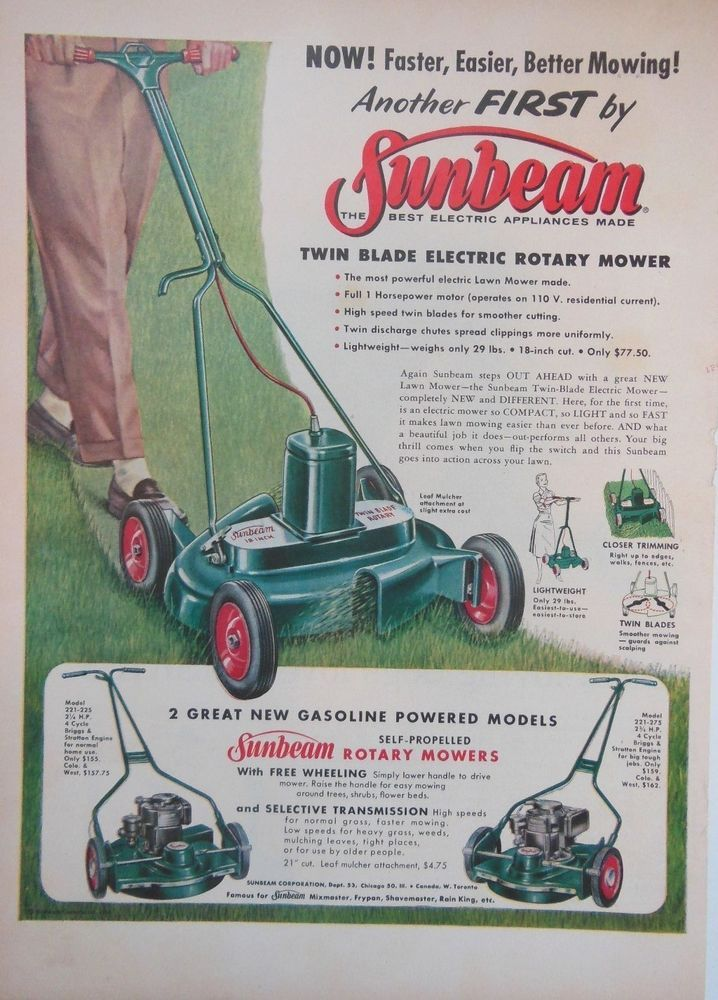 Sunbeam Rotary Lawn Mower Ad 1950s Original Retro Vintage