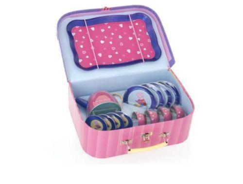 Pink Peppa Pig Picnic Tea Set Carry case tea pot cups saucers plates in Basket
