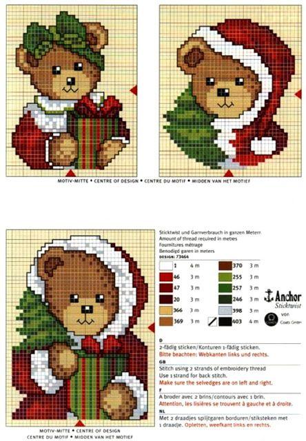 схемы новогодней вышивки мишек