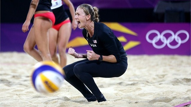 Misty May-Treanor and Kerri Walsh won 2 sets to 1 over Austria in beach volleyball on Day 5 of London 2012 Olympic Games