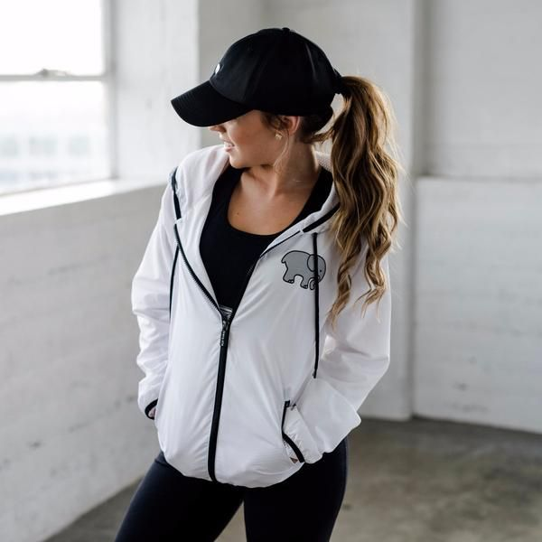 White Zip Up Windbreaker – Ivory Ella