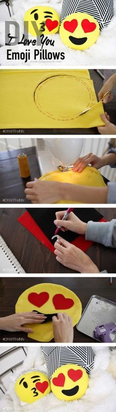DIY Heart Emoji Pillows | lifestyle Valentine's Day How to Project Yellow fabric Black fabric White fabric Red fabric Blue fabric (Depending which emoji you want to do) Scissors Needle and thread